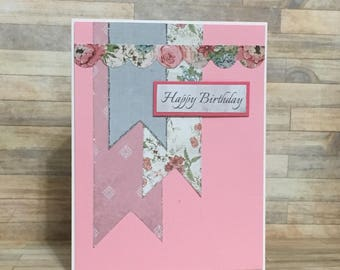Handmade greeting card, birthday card, occasion card, pink and gray