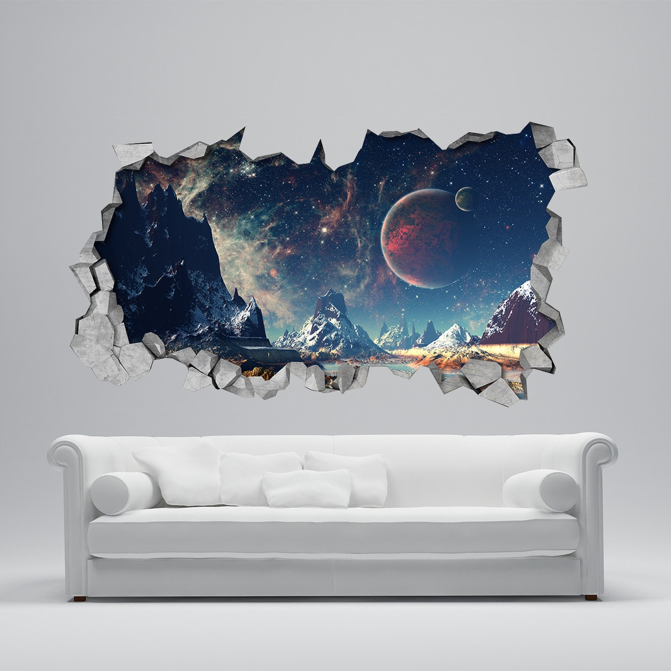 Space broken wall decal 3d wallpaper 3d wall decals 3d for 3d wall decoration stickers