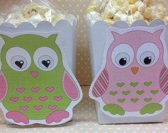 Pink, Blue or Gray Owl Party Popcorn or Favor Boxes - Set of 10