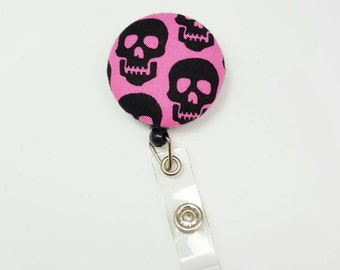Retactable ID Badge Reel / ID Badge Holder / Name Badge Clip / Badge Pull / Button Badge Holder - Black Skulls on Pink