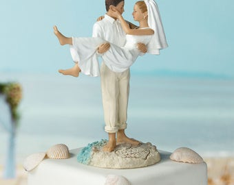 Beach Wedding Cake Topper, Beach Wedding Cake Top, Bride and Groom Cake Tops, Beach Wedding Figurines for Wedding Cake Top