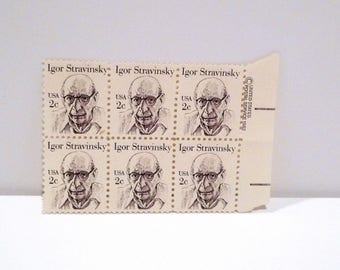 Igor Stravinsky Stamps (6) 1982 Vintage 2 cent postage stamp 1980s Composer The Rite of Spring The Firebird Ballet Petrushka The Nightingale