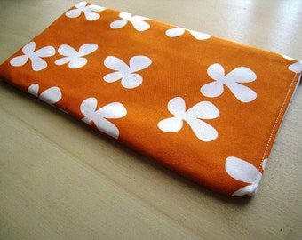 Flowers on Tangerine - Apple or Samsung Wireless Keyboard Sleeve - Padded and Zipper Closure - Ready to Ship