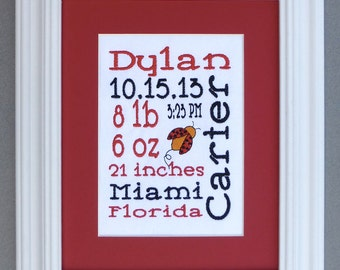 Freeform with Lady Bug - Custom Embroidered Birth Announcement Keepsake