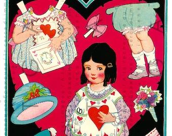 Vintage Paper Doll. Rare 1920's St. Valentine's Paper Doll. Printable Dress Up Doll. Vintage Paper Doll Digital Download.