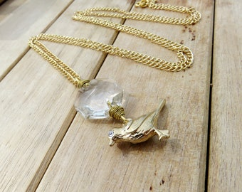 Gold Bird Necklace // Vintage Octagon Prism Bird Necklace // Vintage Crystal Prism and Gold Bird Necklace