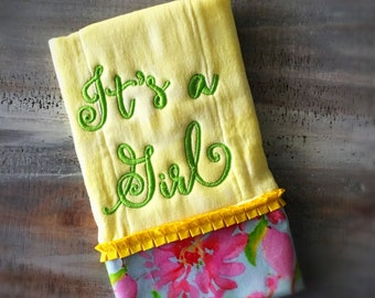 "Yellow Burp Cloth ""It's A Girl"