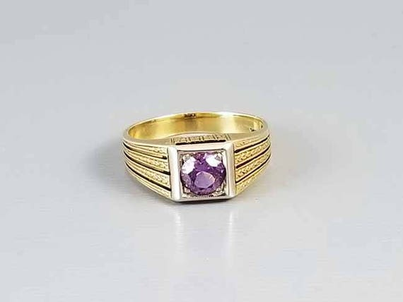 Antique early Art Deco 14k gold purple amethyst ring, size 5.5 chaff of wheat engraving