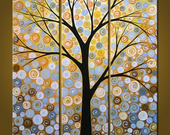 Art Abstract Original Painting Large Modern Triptych Landscape Trees...30 x 30 ..Shades of Night by Amy Giacomelli