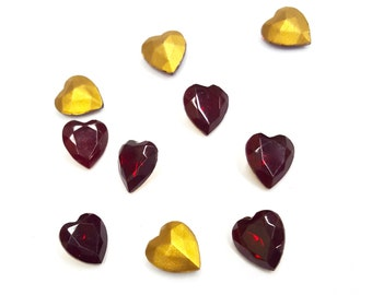 36 Pieces Glass Heart Stones, Siam Ruby Red, Gold Foil on Back, Vintage, 9x8mm