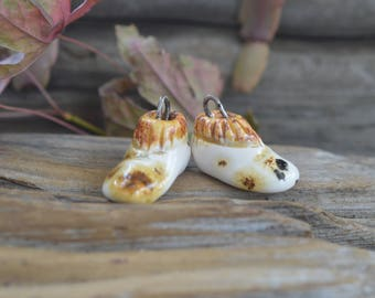 Mocassins-  Handmade Porcelain Bead Pair