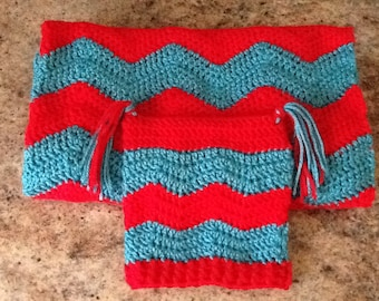 Baby ripple afghan and matching hat set