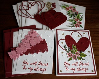 Hand Stamped Pomegranate & White Anniversary, Wedding, or Valentine 4 Card Kit with envelopes