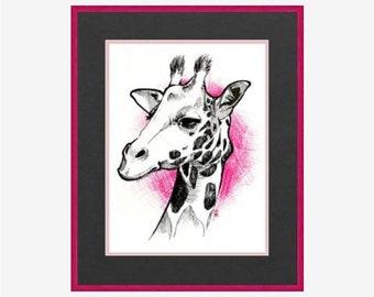 Pink and Black Giraffe Print, 8.5x11