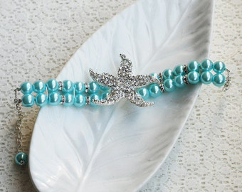 Bridal Pearl Rhinestone Bracelet STARFISH Crystal Beach Wedding Jewelry Something Blue Turquoise Teal Blue Aqua Blue BL039LX