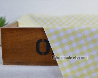 Yarn Dye Plaid Neat Light Yellow White Plaid Cotton Fabric- 1/2 Yard