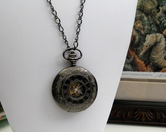 Victorian Engraved Watch Necklace - Steampunk Watch Necklace - Black Enamel - Engravable back - Gift Boxed - Item MPW-N08g