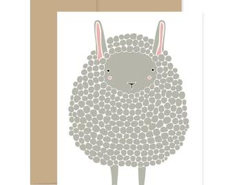 Dark Gray Sheep Card, Baby Card, Baby Sheep Card, Easter Card, Happy Mail, Gray Lamb Card, Blank Card, Thinking Of You Card