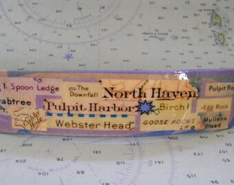 North Haven Island, Maine  French Barrette - with Place names Pulpit Harbor, Pulpit Rock, Crabtree Point, Cubby Hole, Mullens Head and more