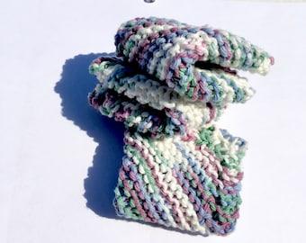 Hand knit wash cloths.