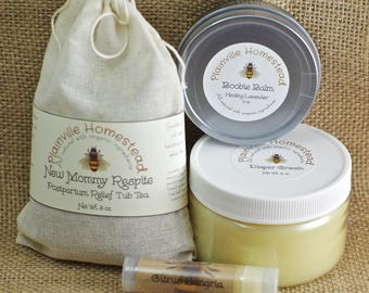 New Mommy Rescue Set || Postpartum Care || Baby Shower Gift || Organic Postpartum || Anniversary || Birthday