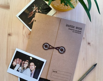 Instax Wide Photo Album for 32 Photos. Instax Photo Album for Instax Wide 300, 210, 200, FP-100C, Lomo'Instant Wide. Dark Brown (Kraft).
