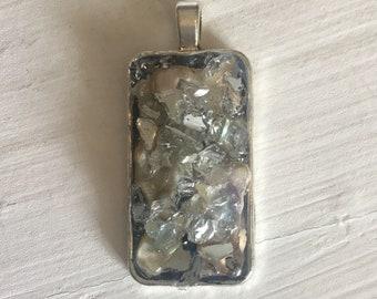 Rectangle Silver Alloy Pendant REC-6