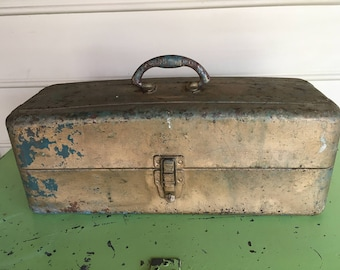 Vintage Union Steel Chest Corp.Tackle Box Two Tiered Tackle Box Vintage Tackle Box Vintage Fishing Supplies Fathers Day Gift Mancave Chic