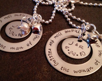 Set of two mother in law necklaces thank you for raising the man of my dreams thank you for raising the woman of my dreams personalized