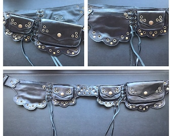 Black leather lilac style belt/ utility belt/ beltbag