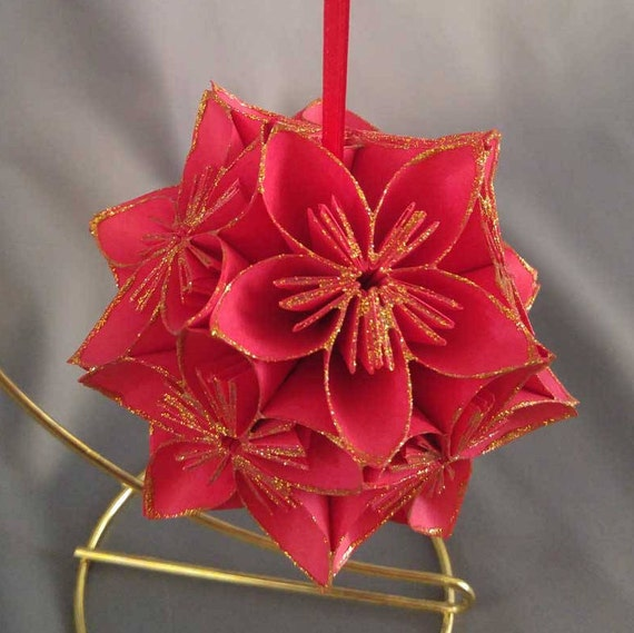 Red Gold Poinsettia Origami Kusudama Christmas Ornament Paper