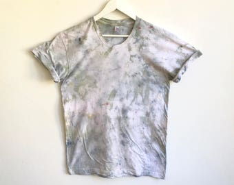 Hand Dyed T-shirt in Jade and Blue Confetti Quartz