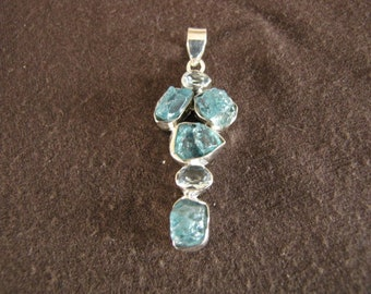 Sterling Silver Rough Apatite and Faceted Blue Topaz Pendant
