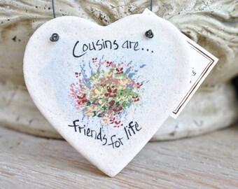 Cousin Gift Salt Dough Heart Ornament / Birthday / Valentine's Day / Christmas Ornament