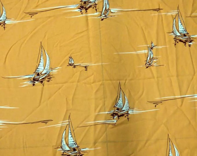Sailboats Print in Light Marigold and White from Designer Tori Richard - Rayon Challis Fabric