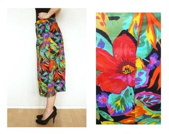 African print skirt, floral skirt - midi skirt