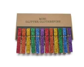 Mini Rainbow Glitter Clothespins, Rainbow Glitter, Party Decor, Mini Clothespins, Set of Twelve (12)