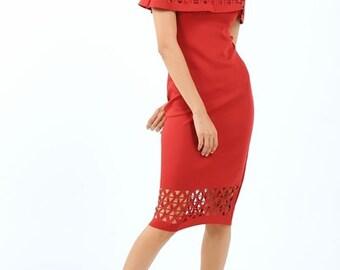 Laser Cut Collar Skirt Dress