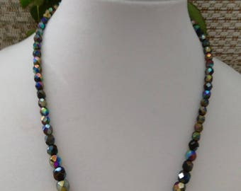 Vintage Hand Strung Faceted Mirror Glass Bead Necklace
