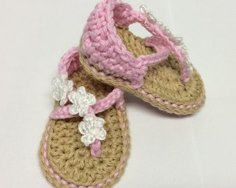 Crochet Carefree Baby Sandals - Crochet Baby Shoes - Crochet Flower - Crochet Spring - Baby Shower Gift