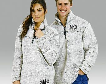 Monogram Sherpa Pullover Jacket, Monogrammed Pullover Sweater, Sherpa Pullover Fleece, Monogrammed Quarter Zip Jacket, Monogrammed Jacket