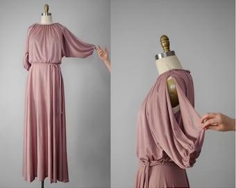 1970s maxi dress | pink maxi dress | Grecian style dress | long pink dress | 1970s pink dress | mauve dress | 70s dress