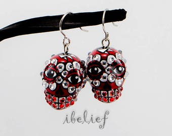 Skulls earrings is the day of the dead handmade drop earrings stone