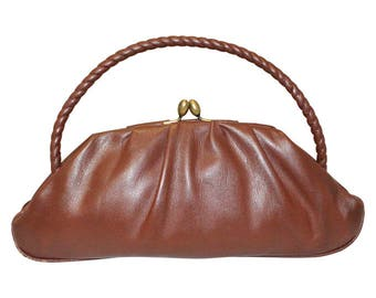 1930's Brown Leather Evening Bag