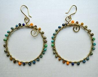 Elemental Brass Hoop Earrings