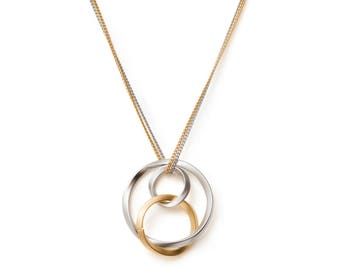 Three circles necklace karma necklace eternity minimalist necklace infinity necklace silver circle necklace 3 circle necklace triple circle