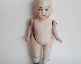 Vintage Porcelain Bisque Frozen Charlotte Doll * Marked