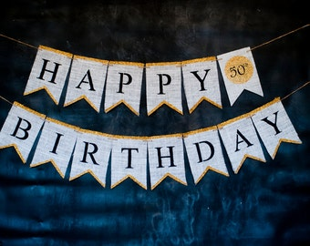 50th Birthday Party Decor, Fifty Years Old Birthday Decoration, Happy 50th Birthday Banner, 50 and Fabulous Sign, Fiftieth Party Ideas, B442