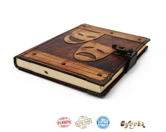 Leather Journal with Theatre Mask - Medium