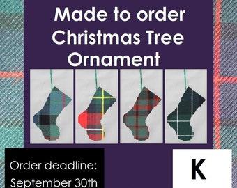 Mini tartan Stocking, Christmas ornament, K names like Keith, Kennedy, Kerr, Kidd, Kilgour, Kincaid, Kinnaird and Kyle